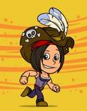 跑深色的海盗女孩字符的动画片 库存例证