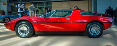 跑车Maserati Bora Tipo 117, 1971年 免版税库存图片