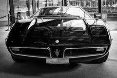 跑车Maserati Bora Tipo 117, 1971年 免版税库存照片