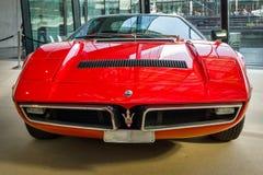 跑车Maserati Bora Tipo 117, 1971年 库存照片