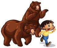 跑远离北美灰熊的女孩 库存例证