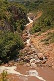 跑通过岩石峡谷的自然泥泞的河 库存图片