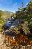 跑通过火山的玄武岩岩石的水自然小河在 免版税库存照片