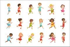 跑集合的孩子 向量例证
