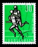 跑,欧洲运动比赛serie,大约1962年 库存照片