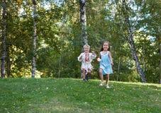 跑从小山的小女孩和男孩 免版税库存图片