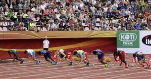 跑100 metrs的Athlets半最后在国际田联世界U20冠军在坦佩雷,芬兰7月11日, 免版税库存图片