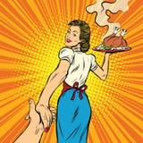 跟我学、餐馆和可口自创食物 向量例证