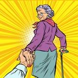 跟我学成熟妇女老婆婆带领手 库存例证