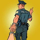 跟我学警察拘捕了妇女 爱和婚姻概念 皇族释放例证