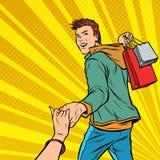 跟我学 年轻人在销售中带领 结合男人和妇女购物 库存例证