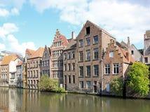 跟特,典型的房子跟特,比利时 库存图片