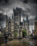 跟特,在雨下的比利时 图库摄影