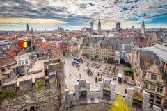 跟特,富兰德,比利时鸟瞰图  免版税库存照片
