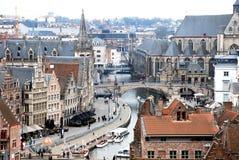 跟特,比利时的历史的市中心的看法 免版税库存照片