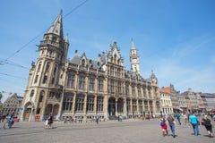 跟特,比利时的市中心 库存照片