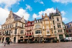 跟特,比利时- 2017年11月:跟特市中心建筑学  跟特是中世纪城市和点旅游目的地在贝耳 免版税库存照片
