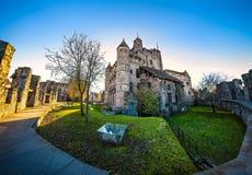 跟特,比利时- 2016年12月05日-中世纪Gravensteen城堡在跟特,比利时 库存照片