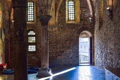跟特,比利时- 2016年12月05日-中世纪Gravensteen城堡的内部在跟特,比利时 库存照片