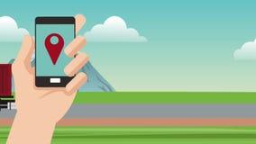 跟踪从智能手机HD动画的运输 皇族释放例证