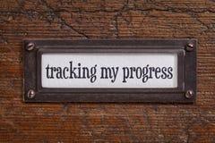 跟踪我的进展-文件柜标签 库存照片