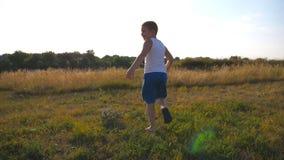 跟随对跑在绿草的年轻男孩在领域在晴天 愉快的微笑的男性孩子获得乐趣本质上  股票录像