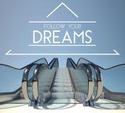 跟随您的梦想概念与台阶 免版税库存照片