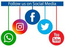 跟随我们在社会媒介 向量例证