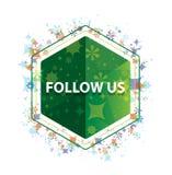 跟随我们花卉植物样式绿色六角形按钮 库存照片