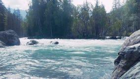 跟随紧密在用浆划在白浪急流下的一个小组的空中射击皮艇后在深蓝色河中水  股票视频