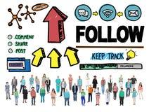 跟随追随者跟随的连接的网络社交概念 免版税图库摄影