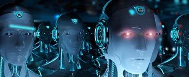 跟随领导靠机械装置维持生命的人军队3d翻译的小组男性机器人 皇族释放例证