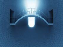 跨接在砖空间的曲拱在蓝色光 免版税库存照片