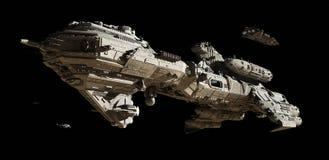 跨星未来派伴游大型驱逐舰 免版税库存图片