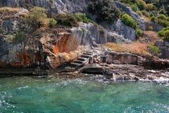 跨步凹下去的Lycian市Dolihiste Kekova海岛,土耳其 免版税库存照片