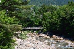 跨过一条岩石河的桥梁 库存图片