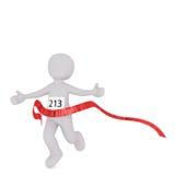 跨过红色种族终点线的动画片赛跑者 库存照片