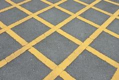 路与线黄色样式的沥青纹理 免版税图库摄影