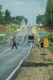路修理在中央俄罗斯 免版税库存图片