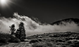 路到云彩里在Wrightwood加利福尼亚 免版税库存图片