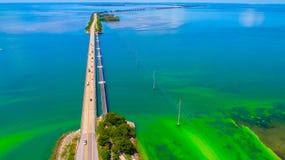 路向在海和海岛,佛罗里达钥匙,美国的基韦斯特岛 图库摄影