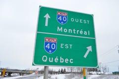 路向魁北克和蒙特利尔 库存照片