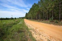 路和农场土地在农村乔治亚,美国 免版税图库摄影