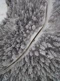 路和微型汽车冬天森林鸟瞰图  免版税库存图片