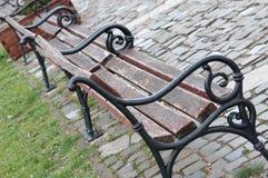 路和长凳在公园 免版税库存照片