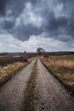 路和黑暗的云彩,秋天风景 免版税图库摄影