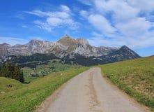 路和Mt Saentis 免版税库存照片