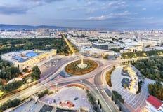路圆环海岛的建筑在包头,内蒙古,中国 库存图片