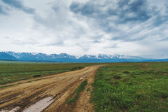 路在一片多山沙漠在夏天 库存照片