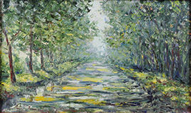 路在夏天森林里,油画 库存图片